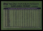 1982 Topps #115  Gaylord Perry  Back Thumbnail