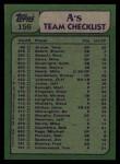 1982 Topps #156   -  Rickey Henderson / Steve McCatty Athletics Leaders Back Thumbnail