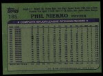 1982 Topps #185  Phil Niekro  Back Thumbnail