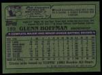 1982 Topps #189  Glenn Hoffman  Back Thumbnail