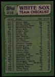 1982 Topps #216   -  Chet Lemon / Dennis Lamp White Sox Leaders Back Thumbnail