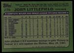 1982 Topps #278  John Littlefield  Back Thumbnail