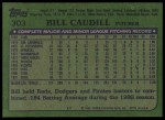 1982 Topps #303  Bill Caudill  Back Thumbnail