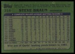 1982 Topps #316  Steve Braun  Back Thumbnail