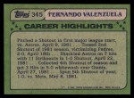 1982 Topps #345   -  Fernando Valenzuela All-Star Back Thumbnail