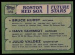 1982 Topps #381   -  Bruce Hurst / Julio Valdez / Dave Schmidt Red Sox Rookies   Back Thumbnail