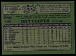 1982 Topps #409  Don Cooper  Back Thumbnail