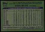 1982 Topps #430  Vida Blue  Back Thumbnail