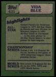 1982 Topps #431   -  Vida Blue In Action Back Thumbnail