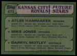 1982 Topps #471   -  Darryl Motley / Atlee Hammaker / Mike Jones Royals Rookies Back Thumbnail