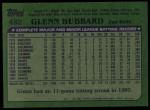1982 Topps #482  Glenn Hubbard  Back Thumbnail