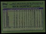 1982 Topps #489  Rick Dempsey  Back Thumbnail