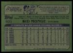 1982 Topps #601  Sid Monge  Back Thumbnail