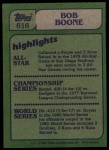 1982 Topps #616   -  Bob Boone In Action Back Thumbnail