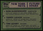 1982 Topps #623   -  Tim Leary / Ron Gardenhire / Terry Leach Mets Rookies Back Thumbnail