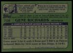 1982 Topps #708  Gene Richards  Back Thumbnail