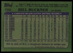 1982 Topps #760  Bill Buckner  Back Thumbnail