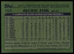 1982 Topps #769  Richie Zisk  Back Thumbnail