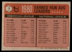1981 Topps #7   -  Rudy May / Don Sutton Strike Out Leaders Back Thumbnail