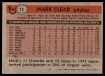 1981 Topps #12  Mark Clear  Back Thumbnail