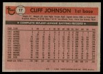 1981 Topps #17  Cliff Johnson  Back Thumbnail