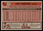 1981 Topps #119  Tippy Martinez  Back Thumbnail