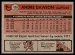 1981 Topps #125  Andre Dawson  Back Thumbnail