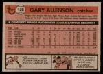 1981 Topps #128  Gary Allenson  Back Thumbnail