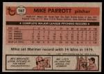 1981 Topps #187  Mike Parrott  Back Thumbnail