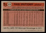1981 Topps #218  Paul Splittorff  Back Thumbnail