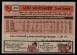 1981 Topps #234  Lou Whitaker  Back Thumbnail