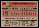 1981 Topps #277  Alfredo Griffin  Back Thumbnail