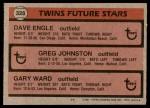 1981 Topps #328   -  Gary Ward  /  Dave Engle  /  Greg Johnson Twins Back Thumbnail