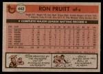 1981 Topps #442  Ron Pruitt  Back Thumbnail