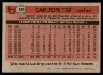 1981 Topps #480  Carlton Fisk  Back Thumbnail