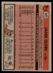 1981 Topps #507  Jamie Quirk  Back Thumbnail