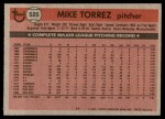1981 Topps #525  Mike Torrez  Back Thumbnail