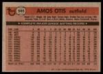 1981 Topps #585  Amos Otis  Back Thumbnail