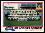 1981 Topps #679   Dodgers Team Checklist Front Thumbnail