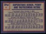 1984 Topps #6   -  Johnny Bench / Gaylord Perry / Carl Yastrzemski Highlights - 3 Superstars Retire Back Thumbnail