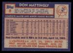 1984 Topps #8  Don Mattingly  Back Thumbnail
