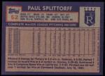 1984 Topps #52  Paul Splittorff  Back Thumbnail