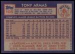1984 Topps #105  Tony Armas  Back Thumbnail
