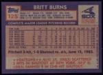 1984 Topps #125  Britt Burns  Back Thumbnail