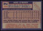 1984 Topps #184  Mike O'Berry  Back Thumbnail