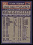 1984 Topps #259  Sparky Anderson  Back Thumbnail