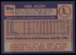 1984 Topps #435  Neil Allen  Back Thumbnail