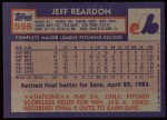 1984 Topps #595  Jeff Reardon  Back Thumbnail
