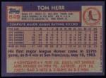 1984 Topps #649  Tom Herr  Back Thumbnail