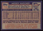 1984 Topps #746  Mickey Hatcher  Back Thumbnail